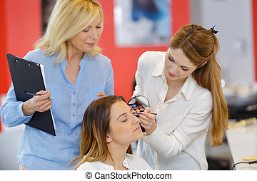 woman in make-up training