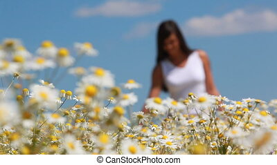 Young woman walking n the meadow and touching camomiles