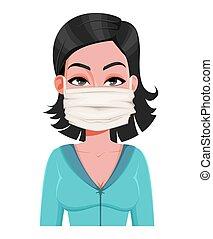 Woman in medical mask. Novel coronavirus 2019-nCoV