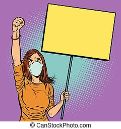 woman in medical mask protests with a poster