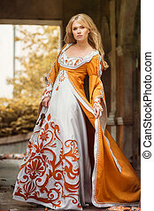 Woman in medieval dress
