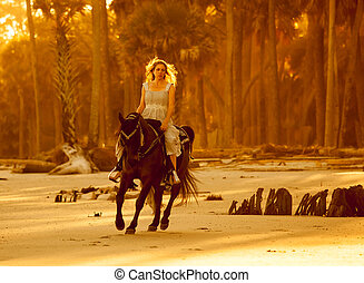 woman in medieval dress on horseback - woman in medieval...