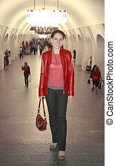 woman in metro
