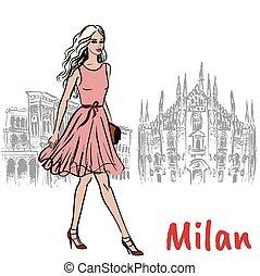 woman in Milan - Hand-drawn sketch of woman in Milan at...