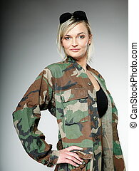 woman in military clothes, army girl