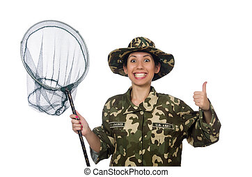 Woman in military clothing with catching net