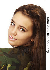 Young woman in military style urban hip hop jacket