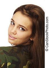 woman in military style urban jacke