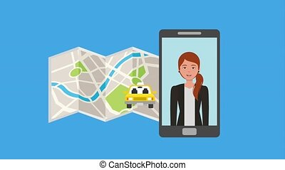 woman in mobile taxi service transport map animation hd
