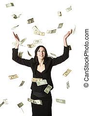 Woman in moneyrain