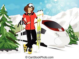 woman in mountain resort
