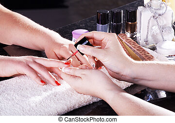 Woman in nail salon