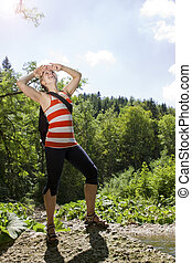 Woman in nature look to the sky