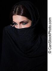 Woman in niqab - Beautiful muslim woman in niqab traditional...