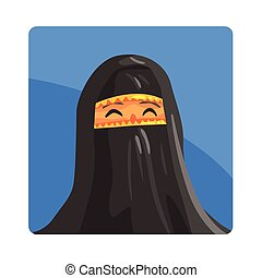 Woman In Niquab Famous Touristic Attraction Of United Arab Emirates. Traditional Tourism Symbol Of Arabic Country