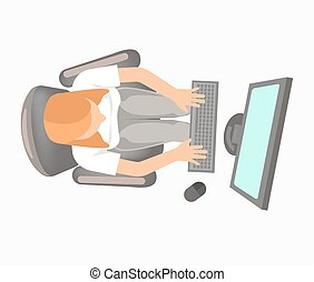 Woman in office clothing works on computer view from top