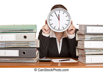 Woman in office has stress because of time pressure. ...