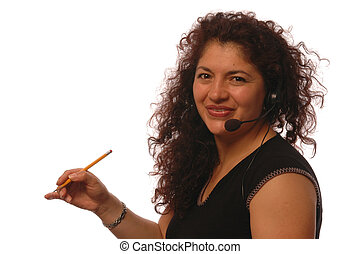 woman in office - hispanic business woman with head set in...