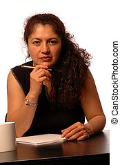 woman in office - attractive   hispanic business woman