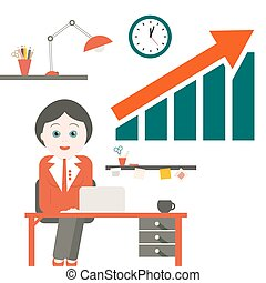 Woman in Office. Vector Secretary with Table and Success Arrow Graph.