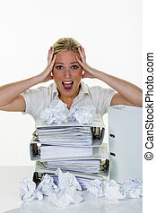 woman in office with burnout
