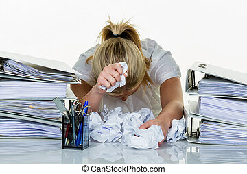 woman in office with burnout - young woman in office is...