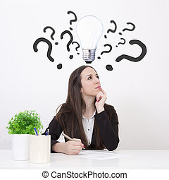 woman in office with doubts and questions