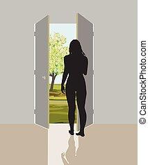 Woman in open door