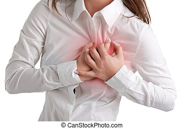 Woman in Pain - Woman having a pain in the heart area,...