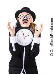 Woman in panic with behind schedule clock