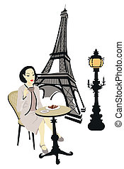 Woman in Paris - Woman in a cafe in Paris