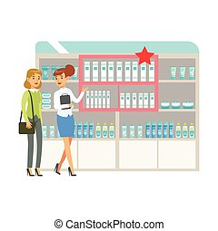 Woman In Pharmacy Choosing And Buying Drugs And Cosmetics On Promotion, Part Of Set Of Drugstore Scenes With Pharmacists And Clients