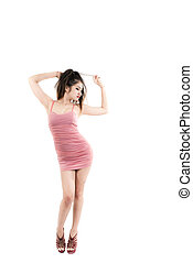 Woman in pink dress on white