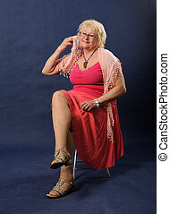 Woman in pink dress.