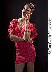 Woman in Pink Dress