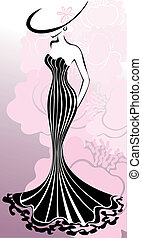 Woman in pink flowers - slender woman in a long dress...