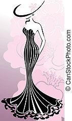 Woman in pink flowers - slender woman in a long dress ...