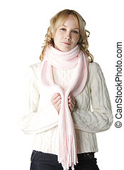 Woman in pink scarf