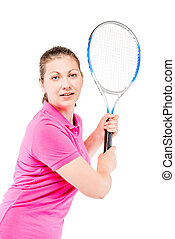 woman in pink T-shirt with racket of tennis on a white background