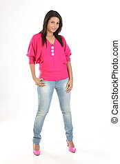 woman in pink tops and jeans