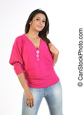 woman in pink tops dress