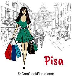 woman in Pisa - Woman walking on street of Pisa, Italy