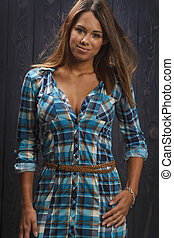 Woman in plaid