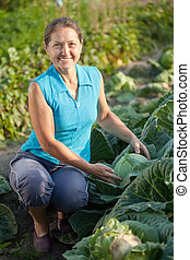 woman  in plant of cabbage