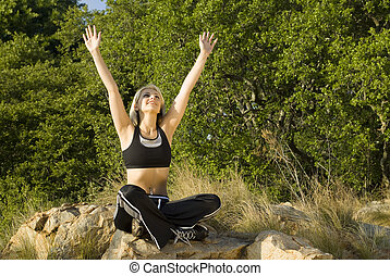 Woman in praise with nature