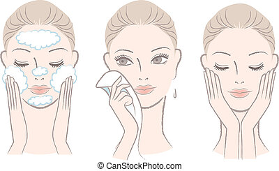 woman in process for washing face - Set of fresh, beautiful ...
