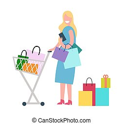 Woman in Process of Shopping Vector Illustration - Woman in...