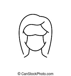 Woman in protective mask line icon on white background
