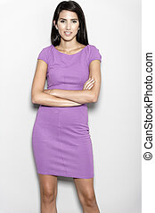 Woman in purple dress