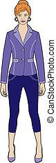 Woman in purple jacket